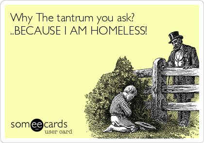 Why The tantrum you ask? ..BECAUSE I AM HOMELESS!