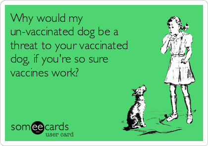 Why would my un-vaccinated dog be a threat to your vaccinated dog, if you're so sure vaccines work?