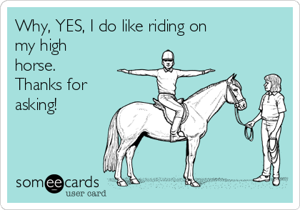 Why Yes I Do Like Riding On My High Horse Thanks For Asking