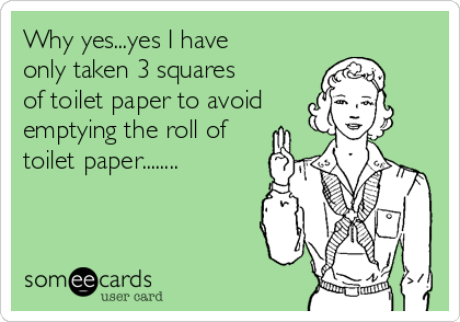 Why yes...yes I have only taken 3 squares of toilet paper to avoid emptying the roll of toilet paper........