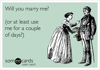 Will you marry me?  (or at least use me for a couple of days?)