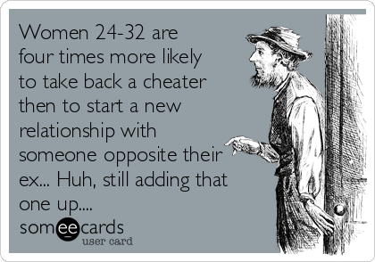 Women 24-32 are four times more likely to take back a cheater then to start a new relationship with someone opposite their ex... Huh, still adding that one up....