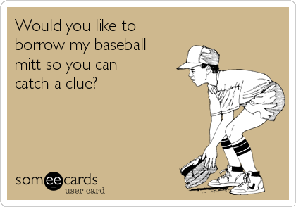 Would you like to borrow my baseball mitt so you can catch a clue?