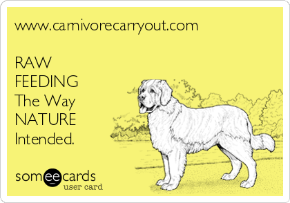 www.carnivorecarryout.com  RAW FEEDING The Way NATURE Intended.