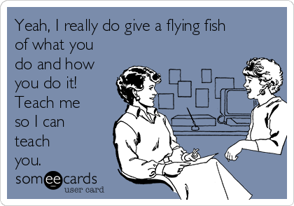 Yeah, I really do give a flying fish of what you do and how you do it! Teach me so I can teach you.