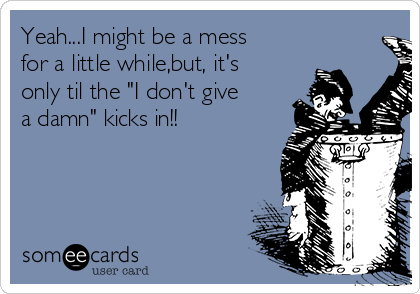 """Yeah...I might be a mess for a little while,but, it's only til the """"I don't give a damn"""" kicks in!!"""