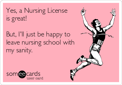 Yes, a Nursing License is great!  But, I'll just be happy to leave nursing school with my sanity.