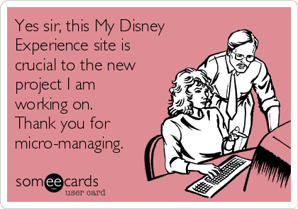 Yes sir, this My Disney Experience site is crucial to the new project I am working on. Thank you for micro-managing.