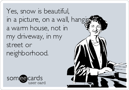 Yes, snow is beautiful, in a picture, on a wall, hanging in a warm house, not in my driveway, in my street or neighborhood.