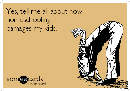 Yes, tell me all about how homeschooling damages my kids.
