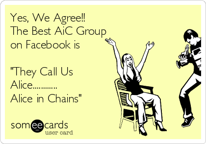 "Yes, We Agree!! The Best AiC Group on Facebook is  ""They Call Us Alice............ Alice in Chains"""