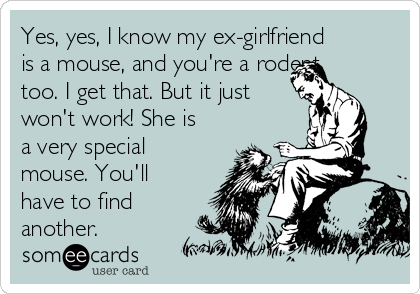 Yes, yes, I know my ex-girlfriend is a mouse, and you're a rodent too. I get that. But it just won't work! She is a very special mouse. You'll have to find another.