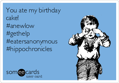 You ate my birthday cake! #anewlow #gethelp #eatersanonymous #hippochronicles