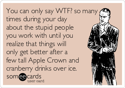 You can only say WTF? so many times during your day about the stupid people you work with until you realize that things will only get better after a few tall Apple Crown and cranberry drinks over ice.