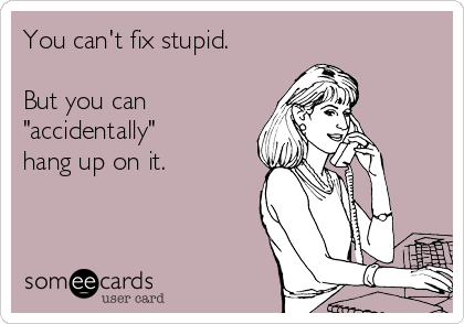 "You can't fix stupid.  But you can ""accidentally"" hang up on it."