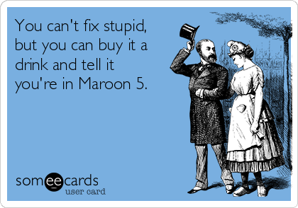 You can't fix stupid, but you can buy it a drink and tell it you're in Maroon 5.