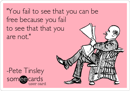 """""""You fail to see that you can be free because you fail to see that that you are not.""""    -Pete Tinsley"""