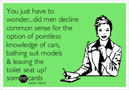You just have to wonder...did men decline common sense for the option of pointless knowledge of cars, bathing suit models & leaving the toilet seat up?