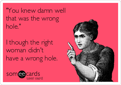"""You knew damn well that was the wrong hole.""  I though the right woman didn't have a wrong hole."