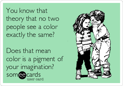 You know that theory that no two people see a color exactly the same?   Does that mean color is a pigment of your imagination?