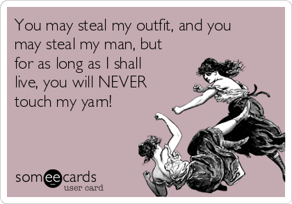 You may steal my outfit, and you may steal my man, but for as long as I shall live, you will NEVER touch my yarn!