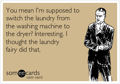 You mean I'm supposed to switch the laundry from the washing machine to the dryer? Interesting. I thought the laundry fairy did that.