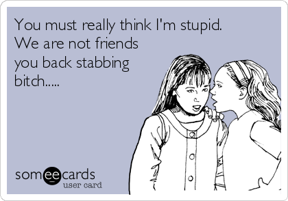 You must really think I'm stupid.  We are not friends you back stabbing bitch.....