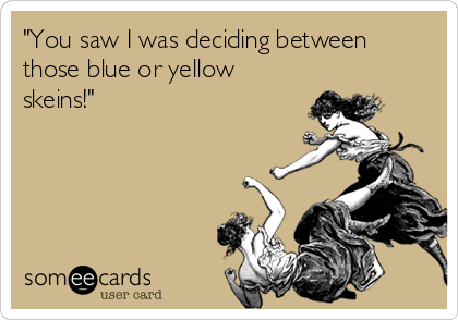 """You saw I was deciding between those blue or yellow skeins!"""