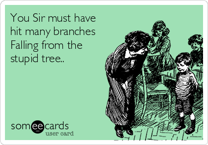 You Sir must have hit many branches Falling from the stupid tree..