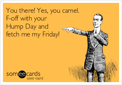 You there! Yes, you camel. F-off with your Hump Day and fetch me my Friday!