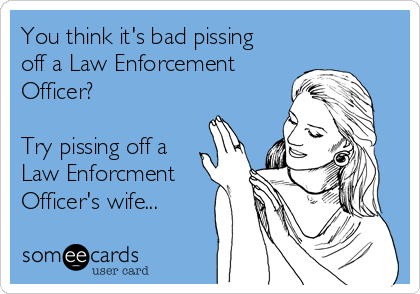 You think it's bad pissing off a Law Enforcement Officer?  Try pissing off a Law Enforcment Officer's wife...