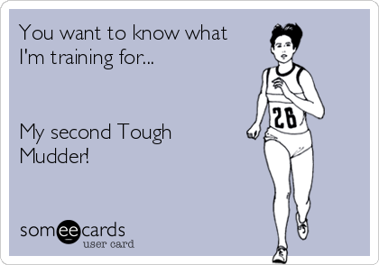 You want to know what I'm training for...   My second Tough Mudder!