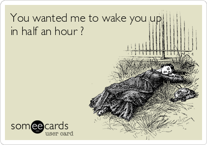 You wanted me to wake you up in half an hour ?