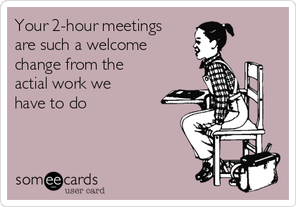 Your 2-hour meetings are such a welcome change from the actial work we have to do