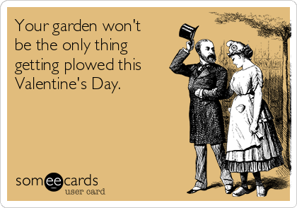 Your garden won't be the only thing getting plowed this Valentine's Day.