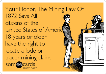 Your Honor, The Mining Law Of 1872 Says All citizens of the United States of America 18 years or older have the right to locate a lode or placer mining claim.