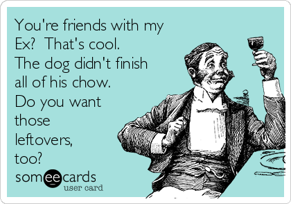 You're friends with my Ex?  That's cool.  The dog didn't finish all of his chow. Do you want those leftovers, too?