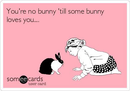 You're no bunny 'till some bunny loves you....